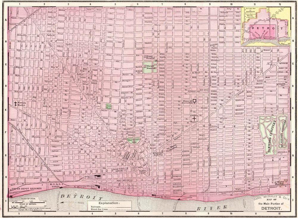 1900 Antique DETROIT Michigan Map Vintage Original City Map of