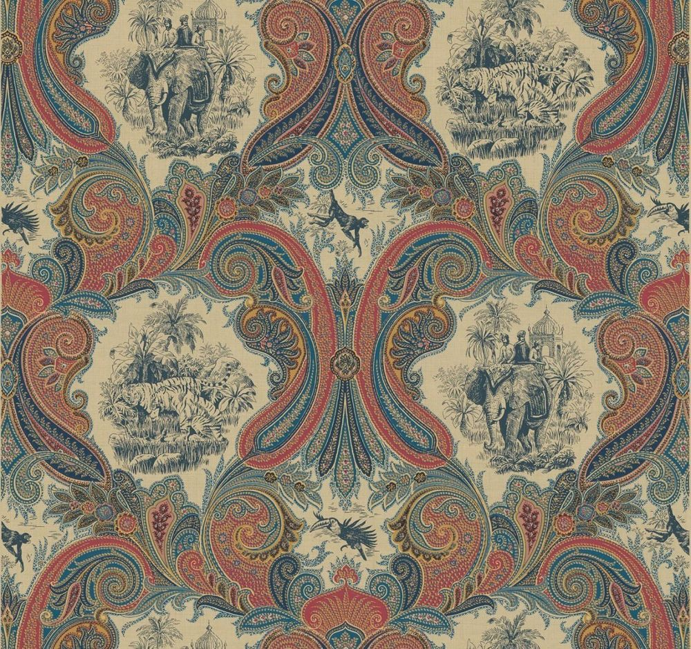 Blue rust paisley wallpaper with indian tigers monkeys for Paisley wallpaper