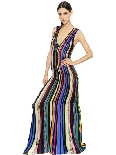 MISSONI Vertical Stripes Viscose Knit Dress, Black/Multi. #missoni #cloth #long dresses