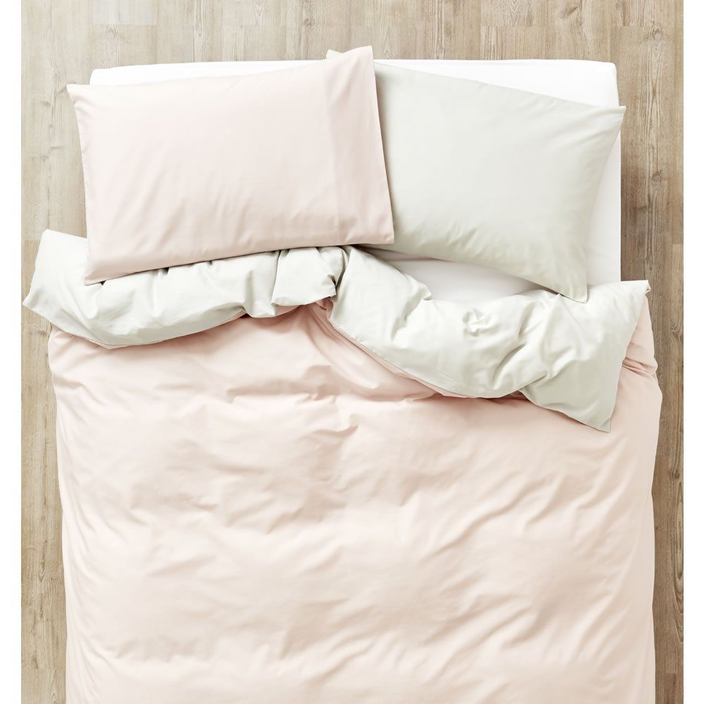 Blush And Silver Reversible Easy Care Double Duvet Set Double Duvet Set Silver Bedding Duvet Sets