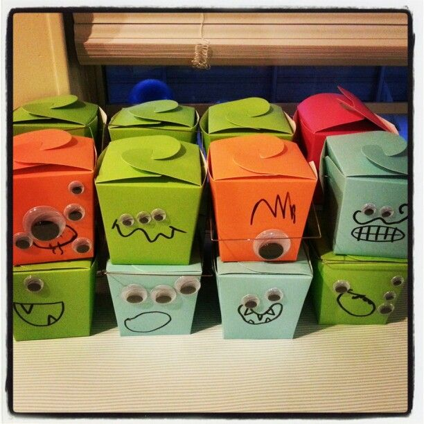 Monster party favor boxes