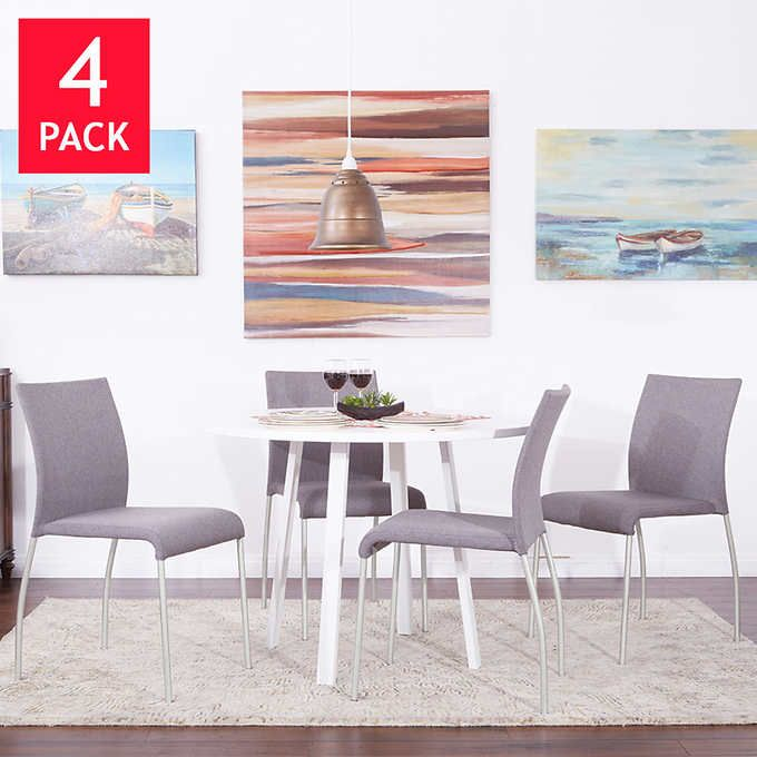 Lucia Stacking Chair 4-pack, Gray