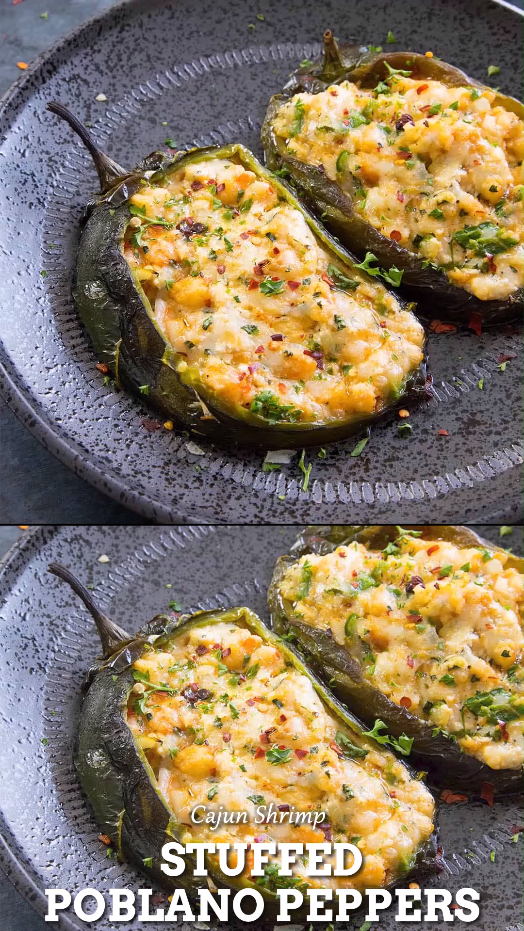 Cajun Shrimp Stuffed Poblano Peppers