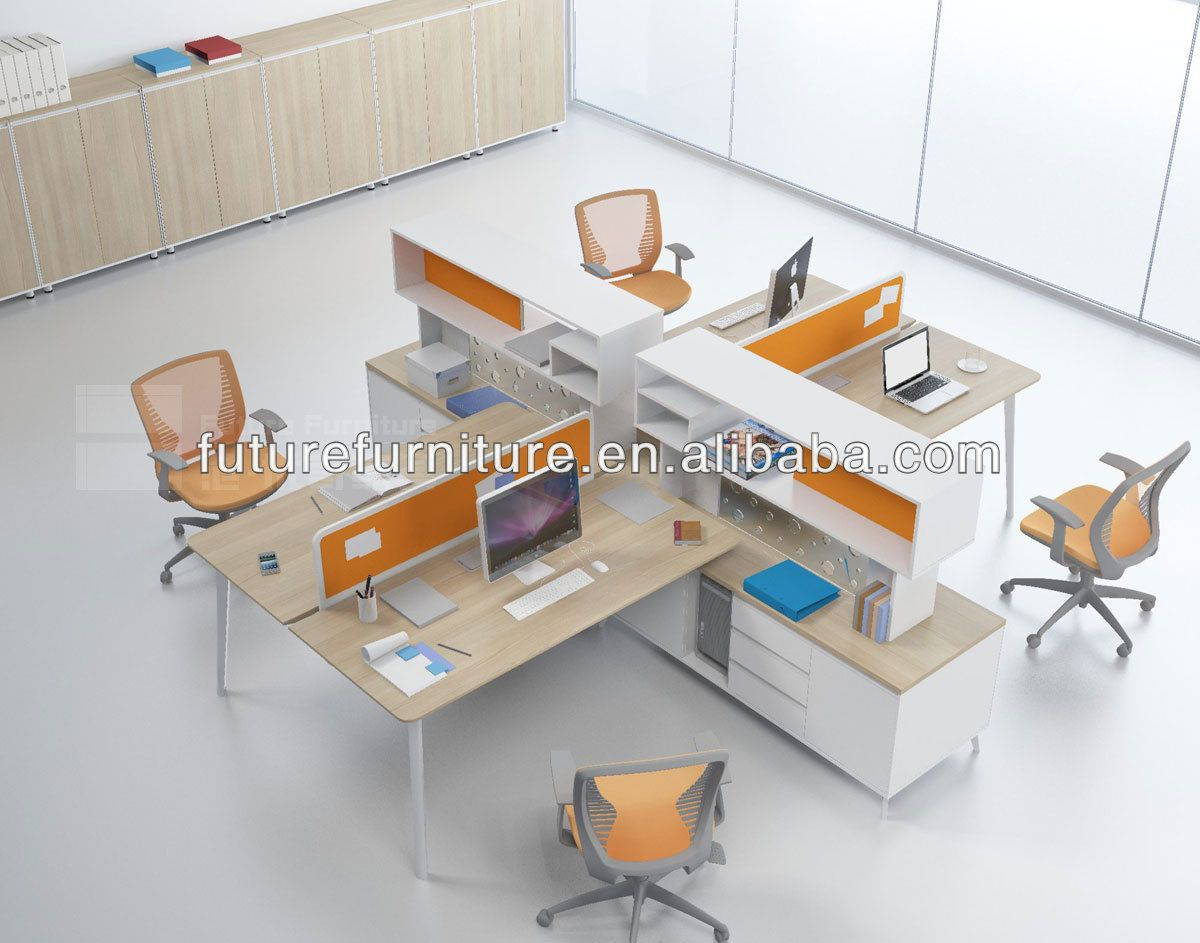 3 Person Use Workstation Desk With Screen For Colombia Market In