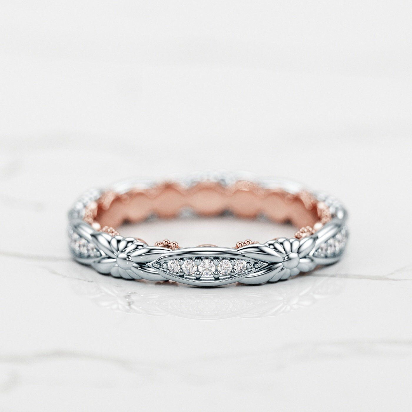 Braided Wedding Band / Two Tone Wedding Band / Diamond