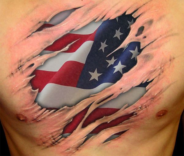 25 awesome american flag tattoo designs tattoo designs for Sweet chest tattoos