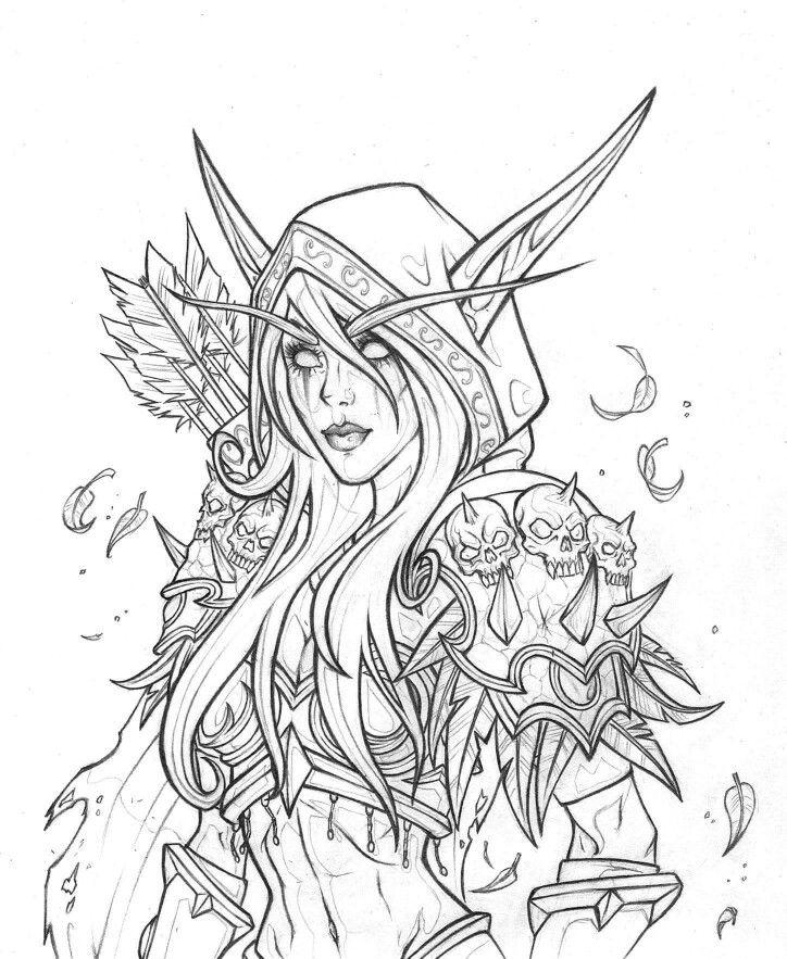 Kal Dorei Sylvanas Windrunner Elf Drawings Warcraft Art World Of Warcraft