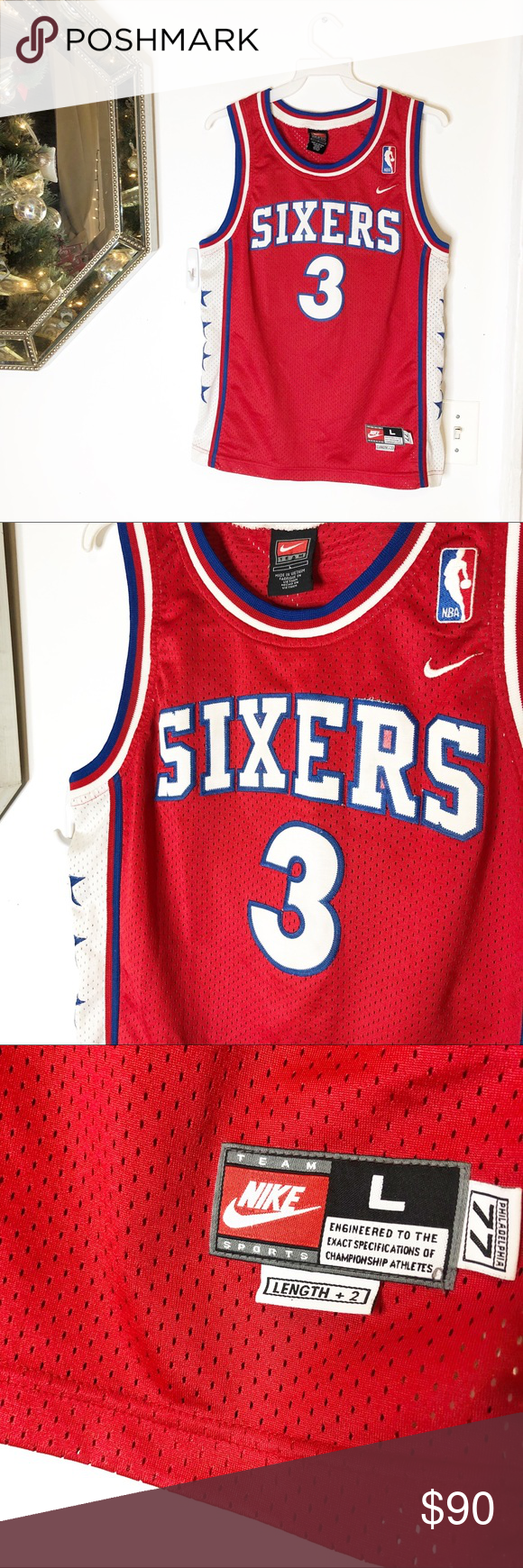 39ab76c7e Vintage Nike Allen Iverson Sixers All Star Jersey Vintage Nike Allen  Iverson Sixers All Star Jersey Mens Large Philadelphia 77 100% Authentic  Guaranteed!