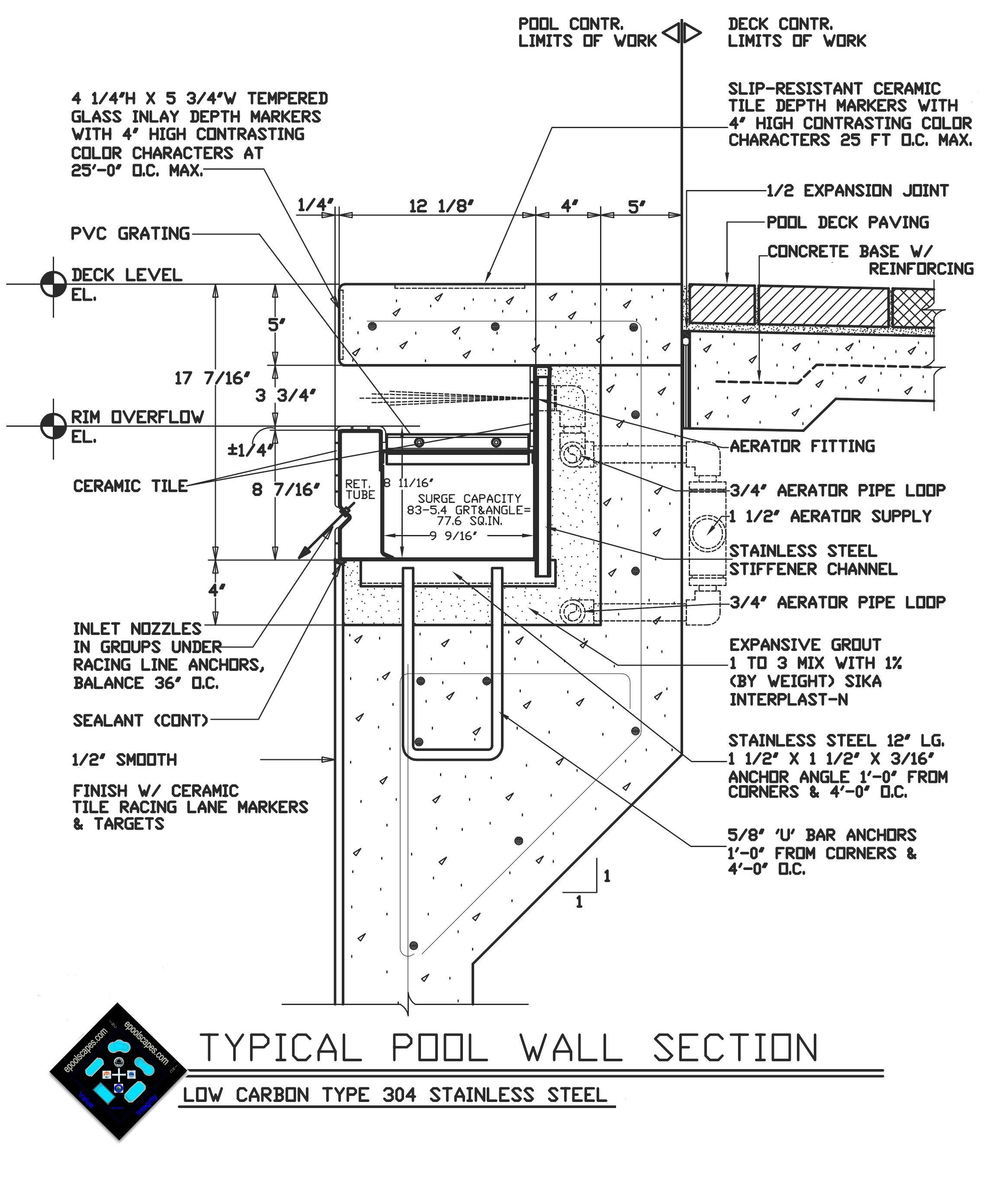 Swimming pool autocad drawing details pinteres for Pool design guidelines