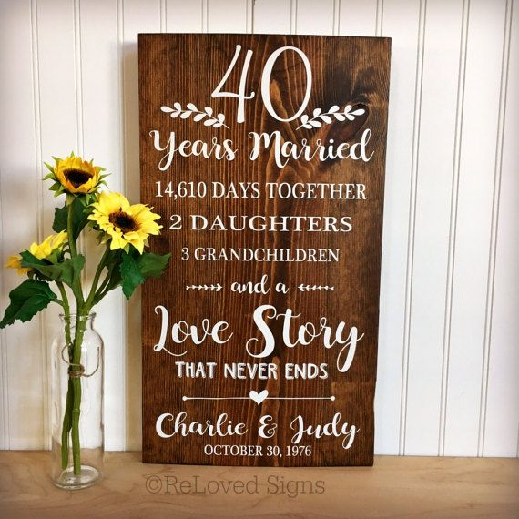 40 Year Wedding Anniversary Gift Ideas: 40th Anniversary 40 Years Married Anniversary Gift Gifts
