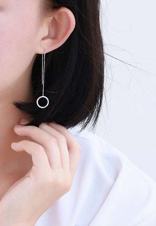 c68c2fee9 SILVER CIRCLE EARRINGS EAR WIRE Korean Earrings, Korean Jewelry, Prom  Earrings, Circle Earrings