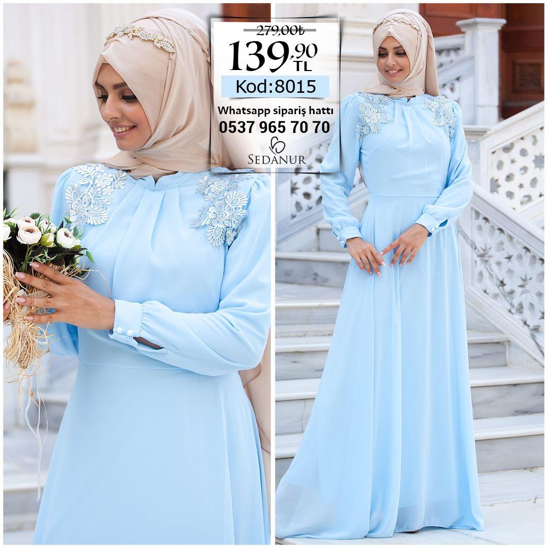 7be122ec277ce Dantel Aplikeli Tesettür Abiye Elbise 8015-Buz Mavisi #sedanur #tesettür # abiye #