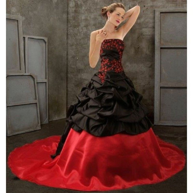 Free Shipping Buy Best Black Red Victorian Gothic Wedding Dresses Strapless