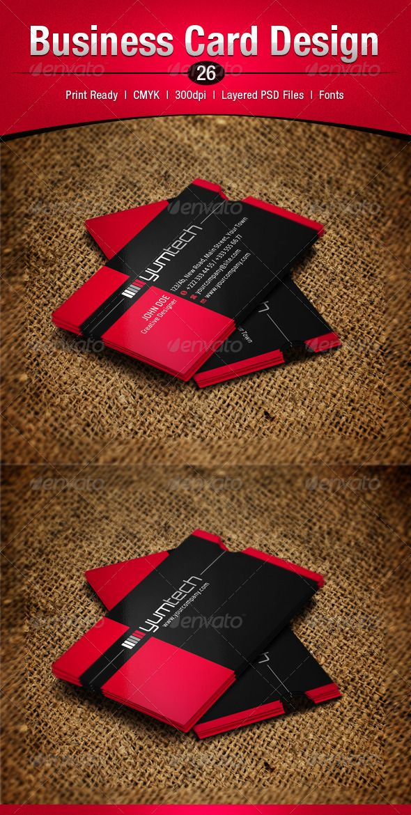 Business Card Design 26 | Black business card, Business cards and ...