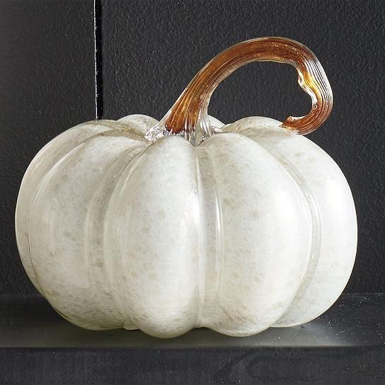 new 2016 trendy fall decor white glass pumpkin small halloween upscale glam