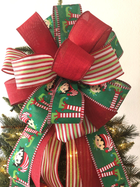 Elf Christmas Decorative Bow / Elf Christmas Tree Topper