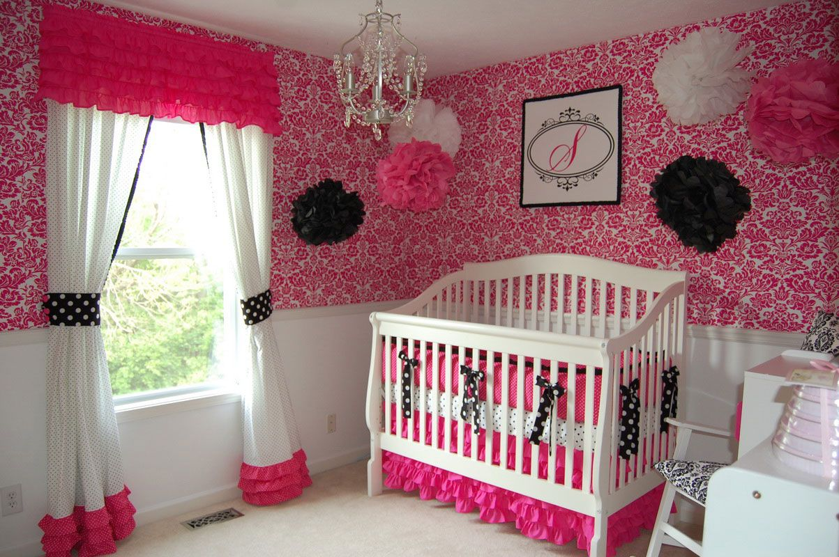 Baby nursery girl baby nursery ideas use pink wall cute for Baby room wall ideas
