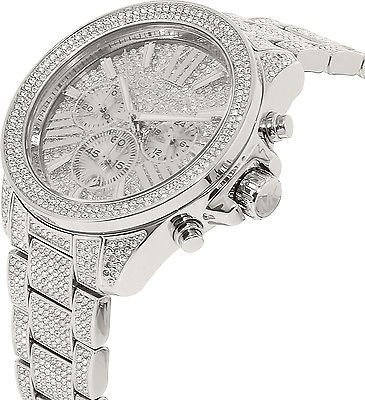 3726bc9179de NEW MICHAEL KORS WREN PAVE SILVER-TONE STAINLESS STEEL CHRONO WATCH MK6317