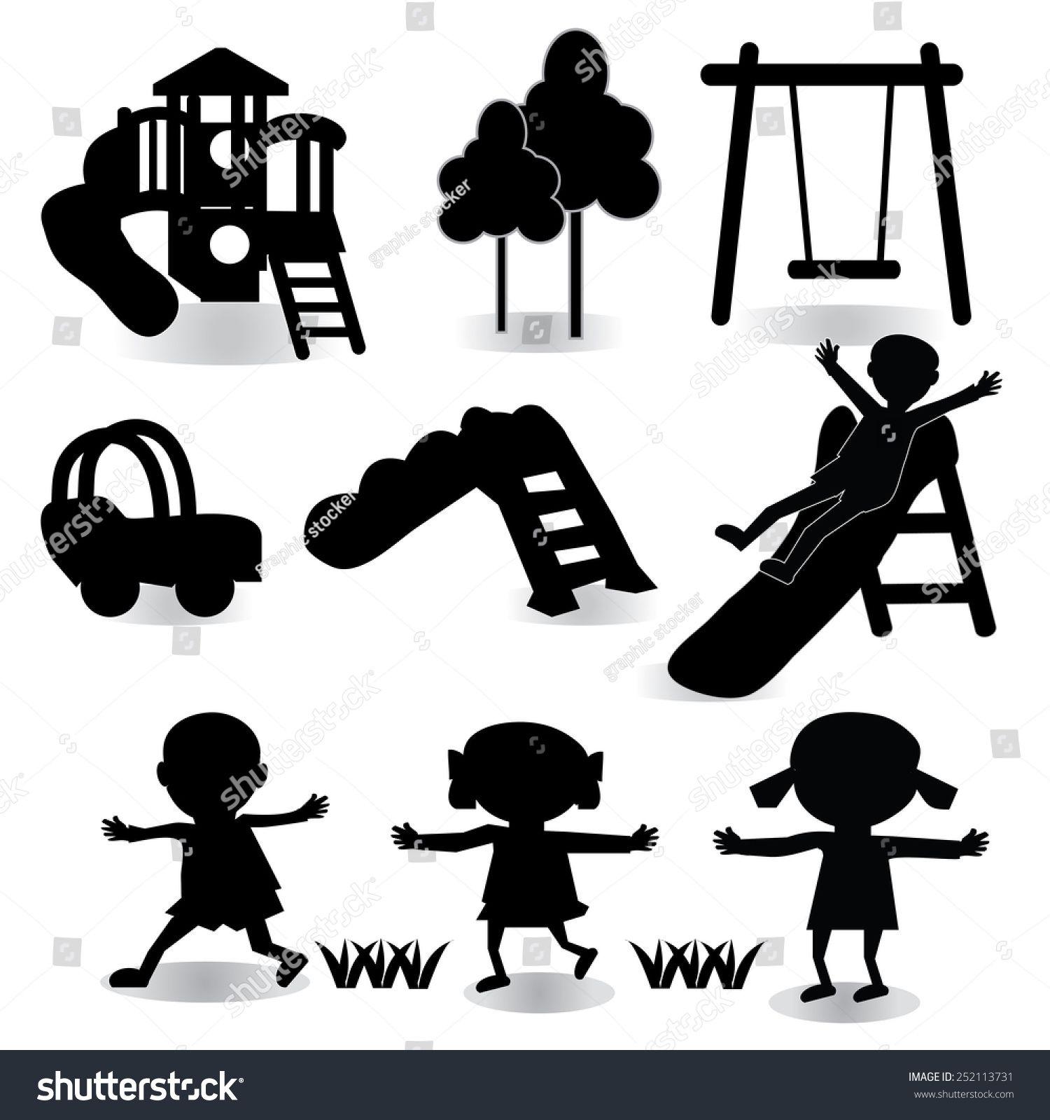 Children play on playground. Pictogram icon set .children