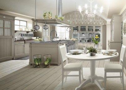 Tavolo Bianco Stile Provenzale.Cucina In Stile Country Chic Con Isola Finitura Grigio Argilla