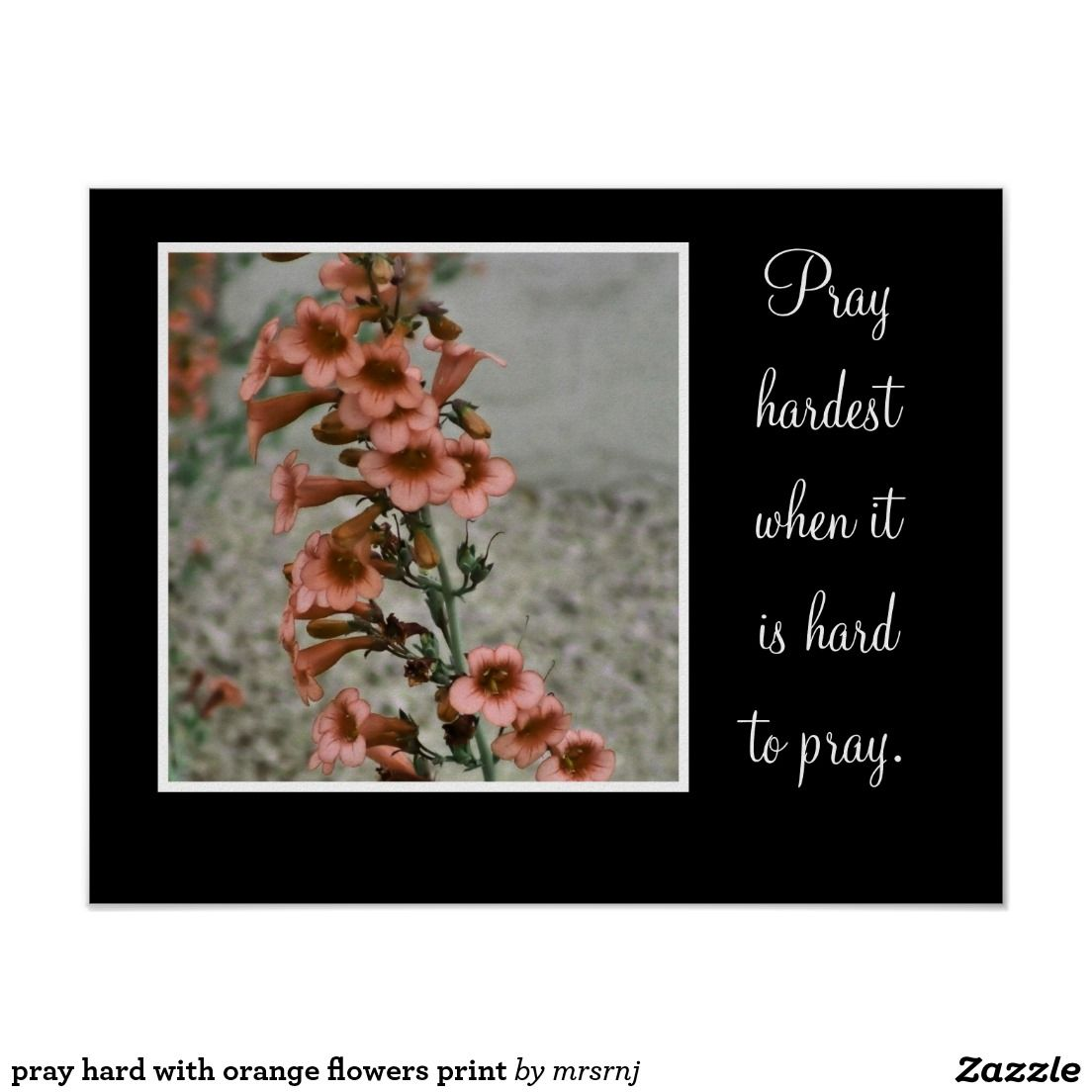 pray hard with orange flowers print