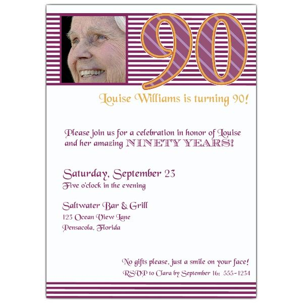 90th birthday pink stripes photo invitations 90th birthday in 2018