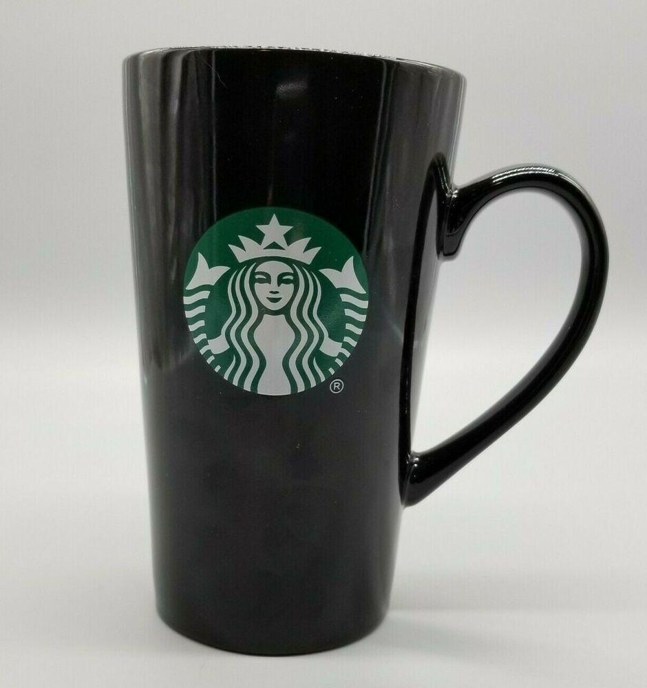 Starbucks 14oz Ceramic Coffee Latte Mug Black With Green Siren Mermaid Logo Lid Starbucks In 2020 Latte Mugs Coffee Latte Starbucks Mugs