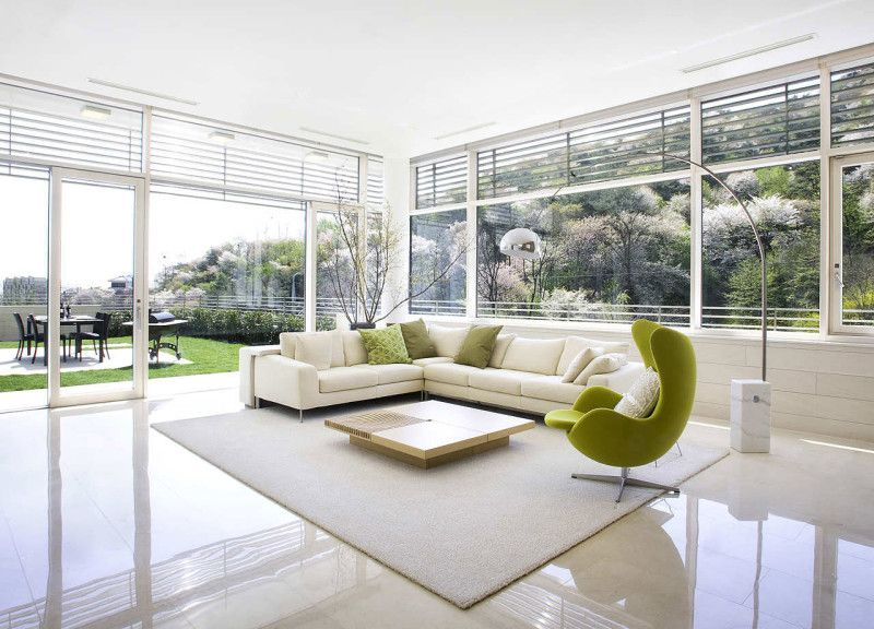 L Shaped White Sofa Furniture And Lime Green Lounge Chair