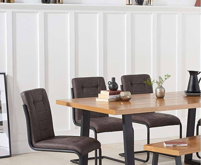 Urban 180cm Dining Table With Alexa Dining Chairs And Benches