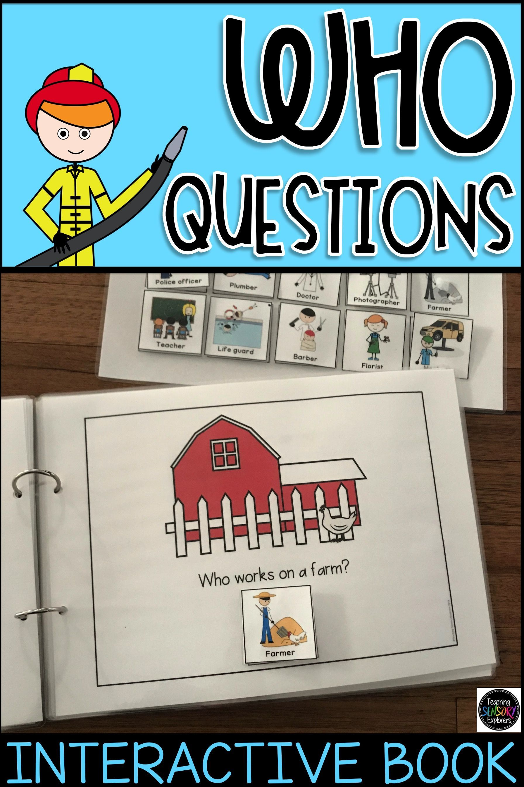 Who Questions Interactive Book Worksheets Special