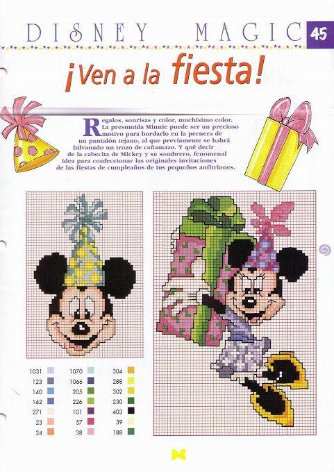 Minnie and Mickey Mouse x-stitch | yarn | Pinterest | Cross stitch ...