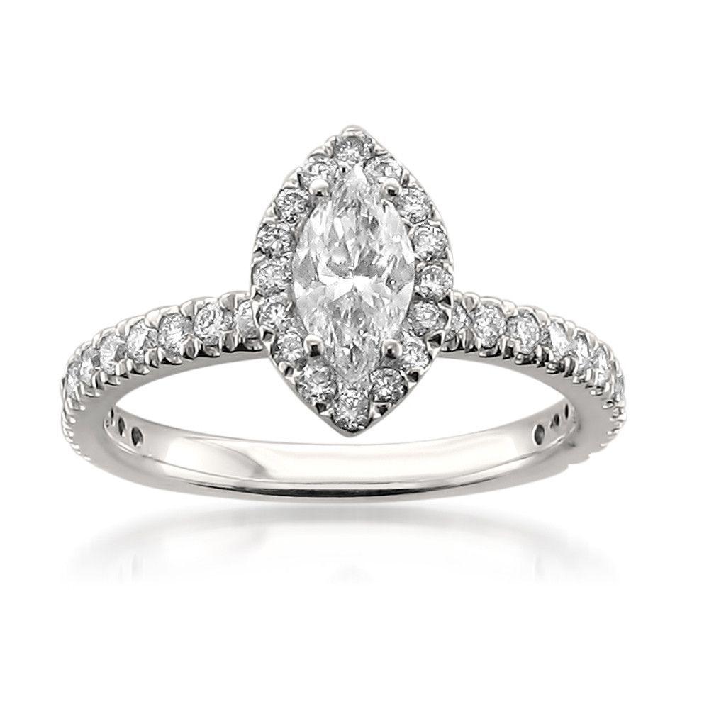 14k white gold igi certified marquise round diamond halo
