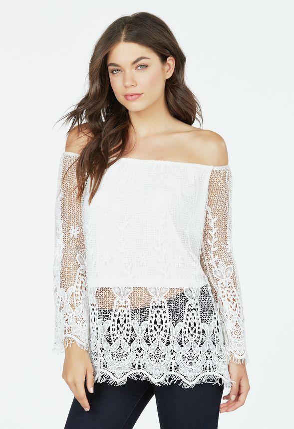 82b4bca2723 Off Shoulder Lace Festival Top Kleidung in Weiß - günstig kaufen bei JustFab