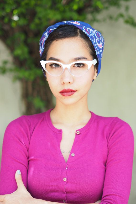 bdd4021f06d Vintage Style Eyeglasses cat eye By Lemon Eyeglass CO. White and Clear Two  Tone color Frames Good size
