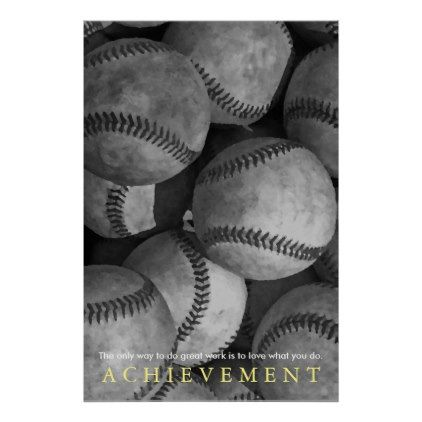 Achievement motivational baseball poster black and white gifts unique special bw style