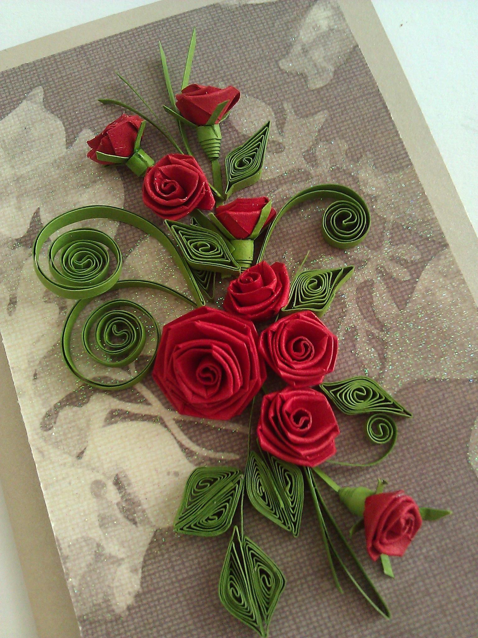 Анимация, открытки по квиллингу с розами