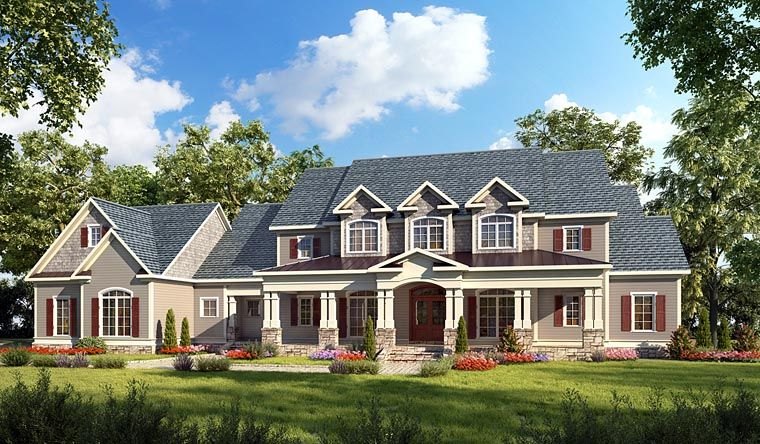 Country Style House Plan Number 58272 With 4 Bed 5 Bath