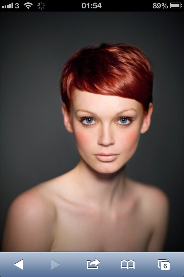 Red pixie cut. COLOR