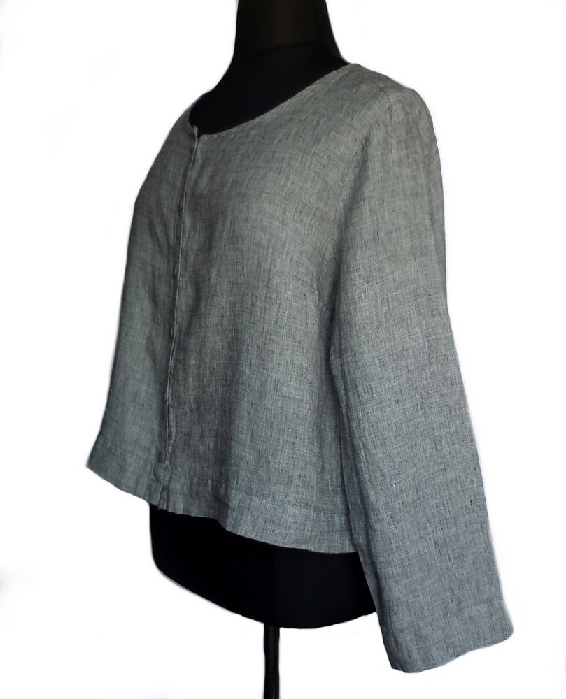 FLAX Sunshine Daily Cardi Top Blouse 1G 1X Pepper Gray Linen NWOT #Flax #Blouse #Casual