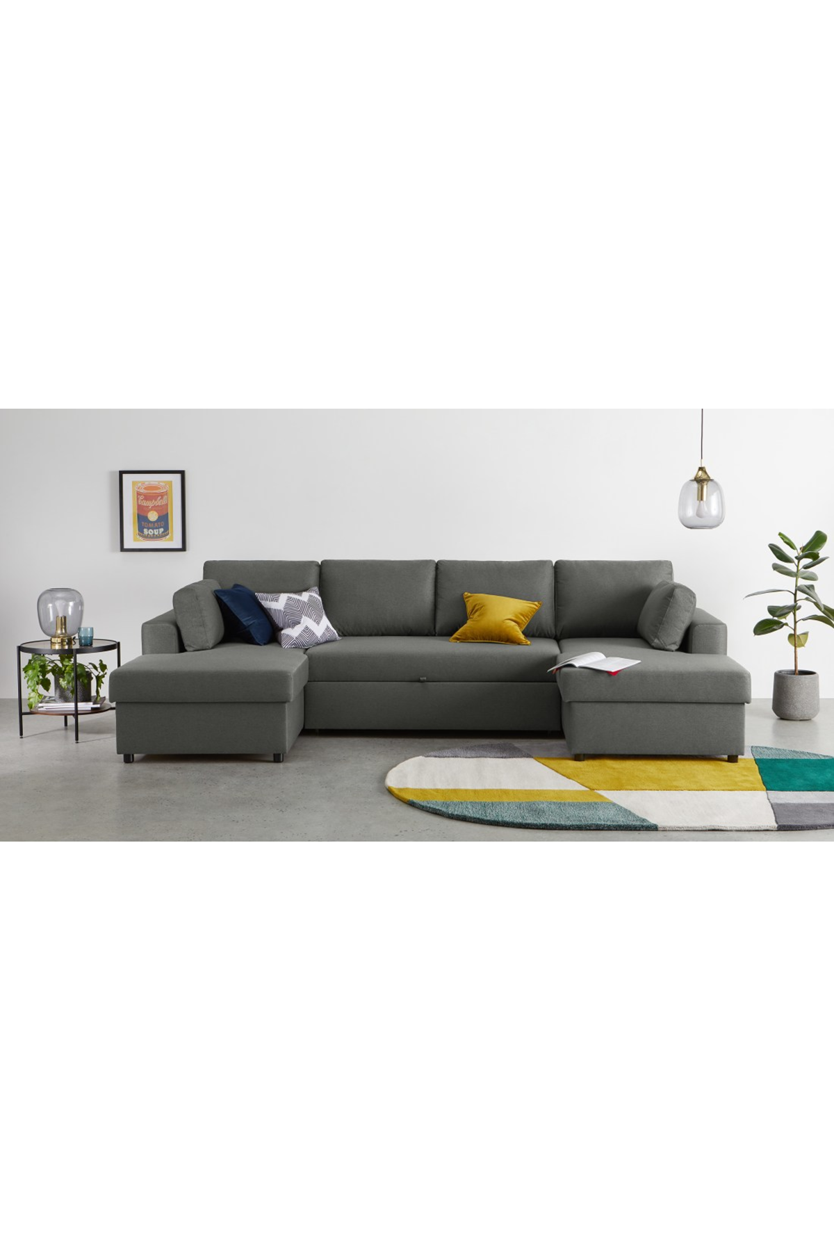 Aidian Large Corner Sofa Bed with Storage, Pigeon Grey ...