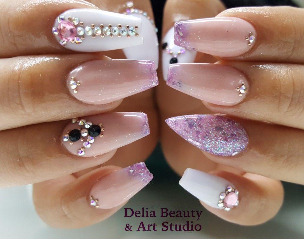 Nails, pink nails. Nail Design. Purple nails. Ombre nails. Coffin ...