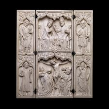 Ivory triptych with the arms of John de Grandisson, Bishop of Exeter  ca.  1330-40  This elephant ivory triptych is on display at the British Museum in London, England.   http://www.britishmuseum.org/explore/highlights/highlight_objects/pe_mla/i/ivory_triptych.aspx