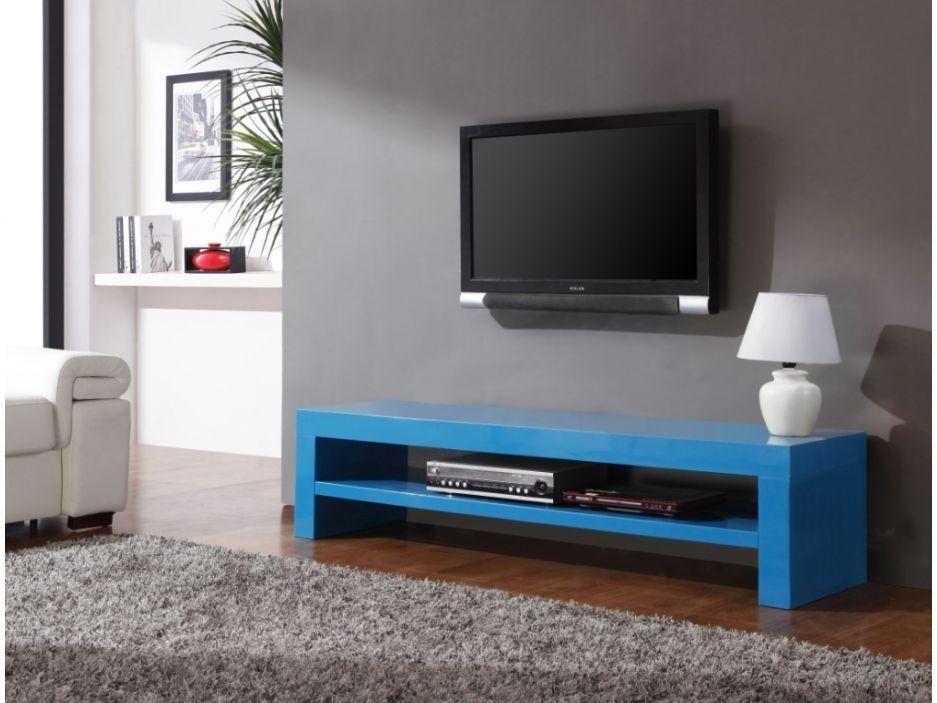 Meuble Tv Baxter - 1 Niche - Mdf Laqué - Bleu Canard   Meubles
