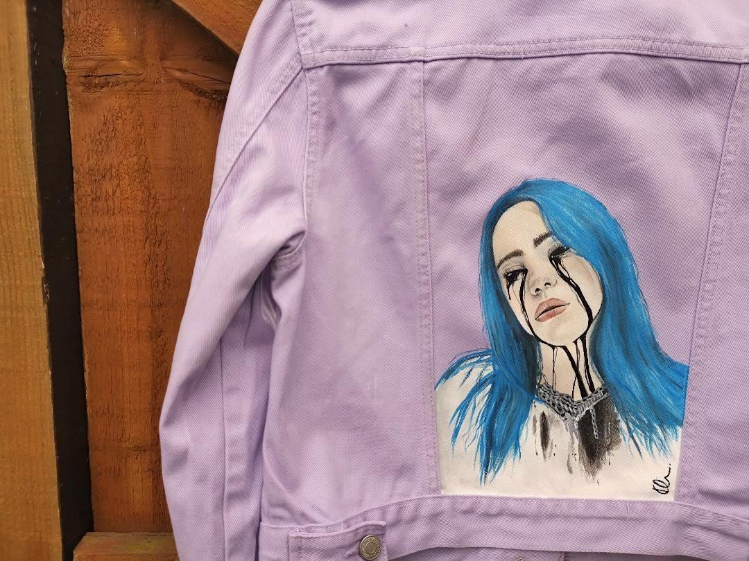 Billie Eilish Hand Painted Painted Denim Jacket Hand Painted Denim Jacket Painted Denim [ 810 x 1080 Pixel ]