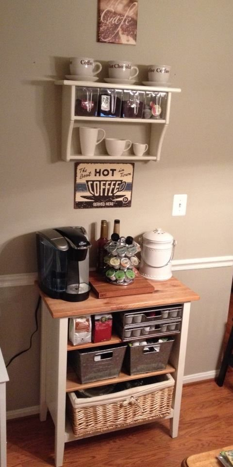 Our Version Of The Coffee Bar Ikea Book Case And Ikea Shelf Above Coffee Bar Home Diy Coffee Bar Home Coffee Stations