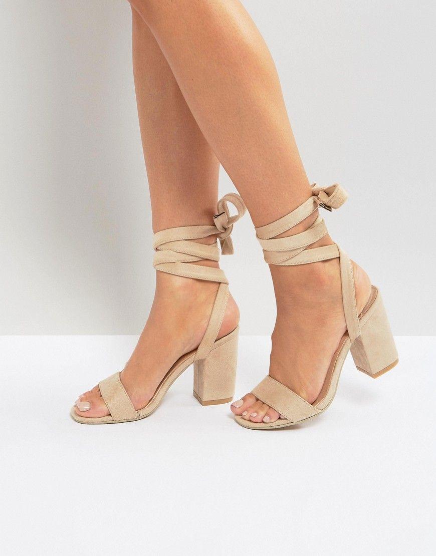 30333e87887 Park Lane Tie Ankle Block Heel Sandals - Beige