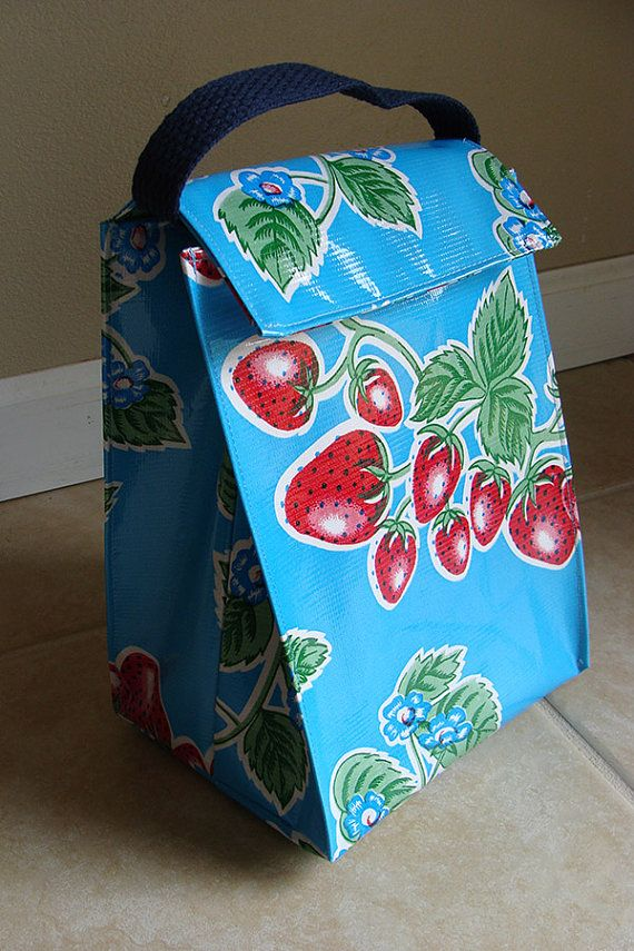 Reusable Oil Cloth Lunch Bag -- fully lined and easy to clean