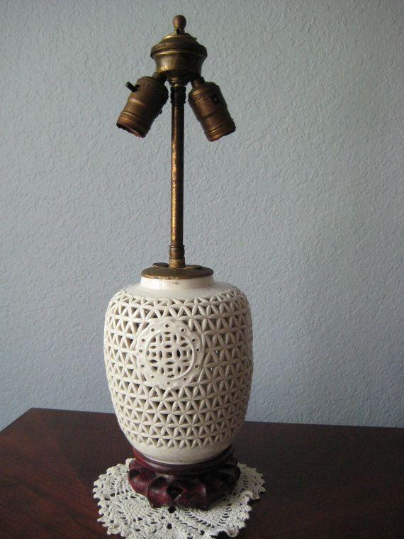 Vintage Porcelain Table Lamp   White Lattice With Carved Wooden Base # Vintage #decor $49