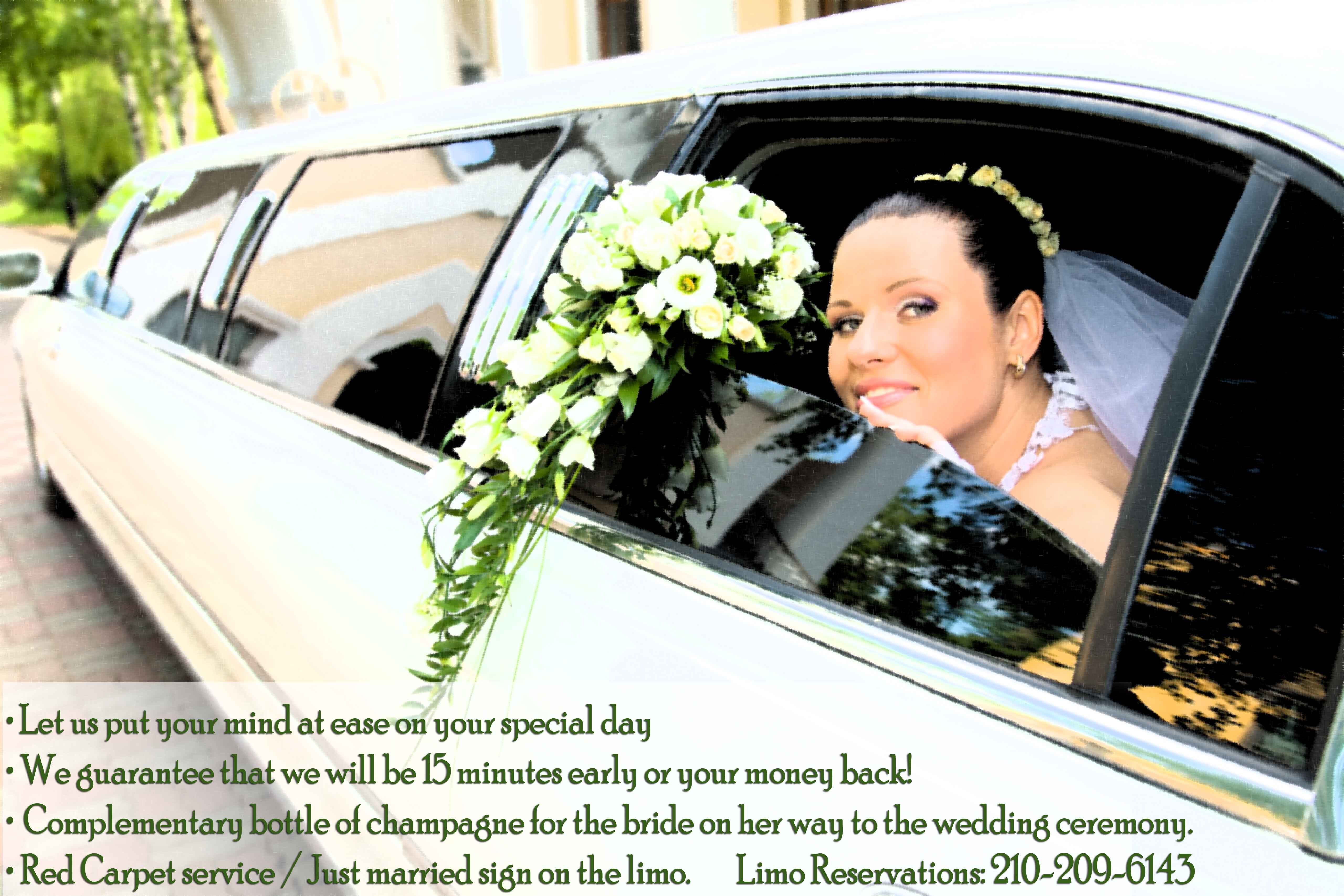Special limousine wedding package! Let us put your mind at