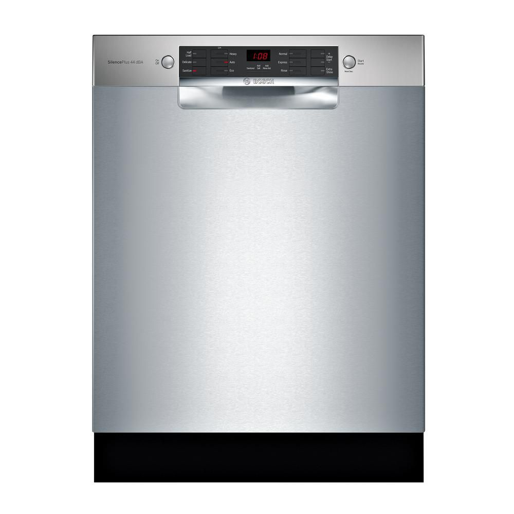 Bosch 800 Series 24 In Stainless Steel Ada Front Control Dishwasher With Stainless Steel Tub And 3rd Rack 44dba Sge68x55uc The Home Depot Built In Dishwasher Steel Tub Bosch